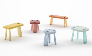 Colorful smiling face stool