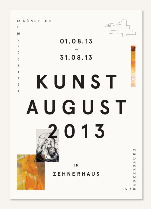 Kunstaugust 2013 – Print design for an exhibition featuring 12 artists in Bad Radkersburg.
