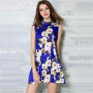 new-arrival-2016-summer-women-big-flower-print-dress-female-sleeveless-stand-collar-blue-fashion ...