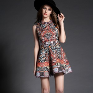 Spring-Dress-2016-New-High-quality-Women-Clothing-fashion-Print-party-dresses-Slim-Vintage-S-XL