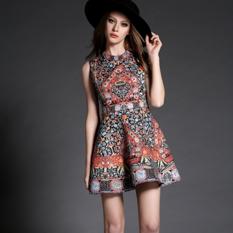 Spring-Dress-2016-New-High-quality-Women-Clothing-fashion-Print-party-dresses-Slim-Vintage-S-XL