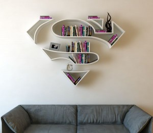 Superman logo bookshelf