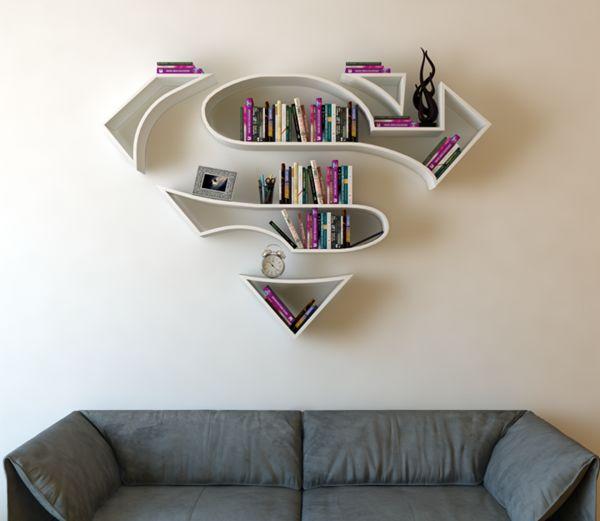 Superman logo bookshelf