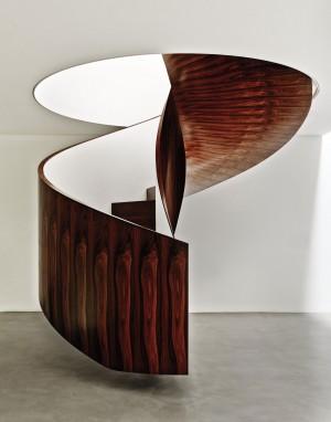 Weinfeld's Brazilian ironwood spiral floating staircase.