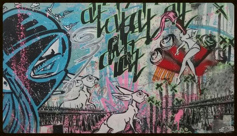 """""""Art attack"""" 102cm×61cm acrylic,spray on compress carton"""