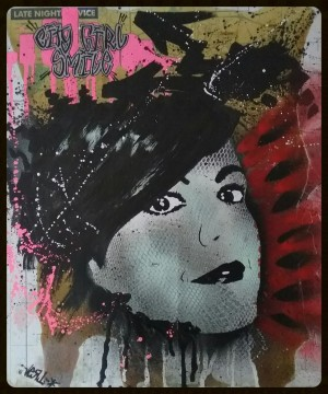 """Late Night Vice, City Girl Smile"" by Vert  Mix media, Acrylic and spray colors on c ..."