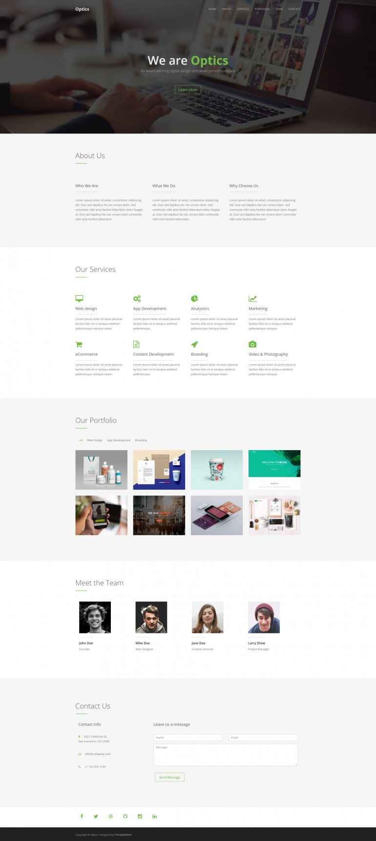 Optics – Free One Page HTML Template