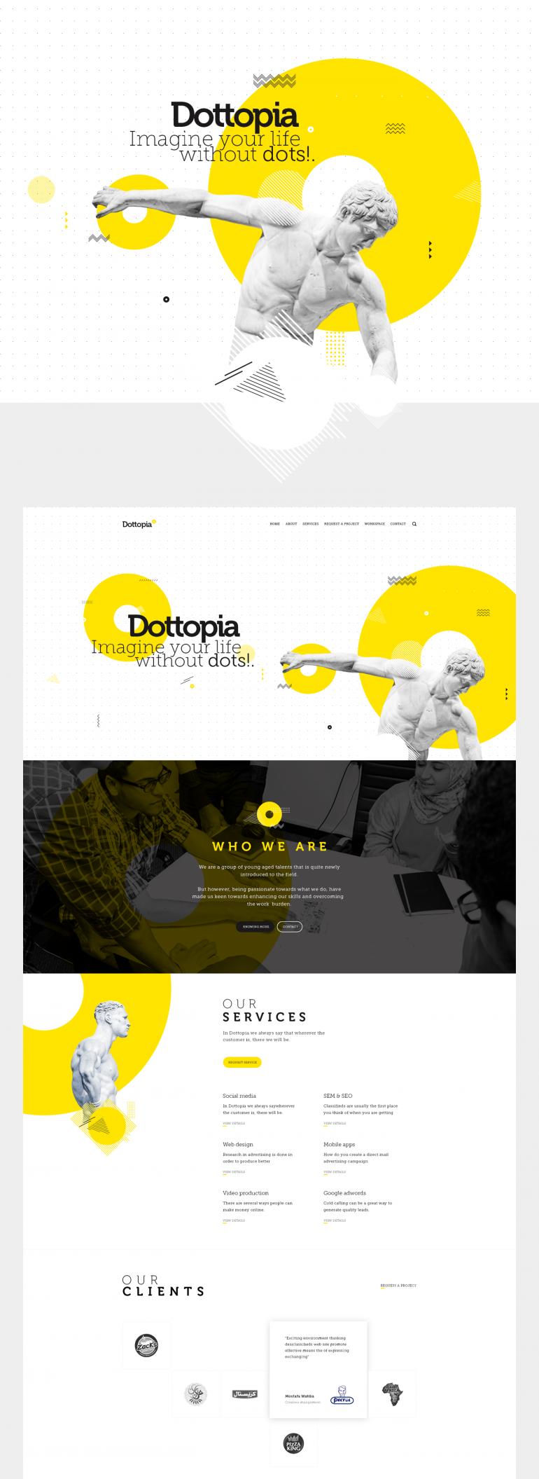 Dottopia web design UX/UI on Inspirationde