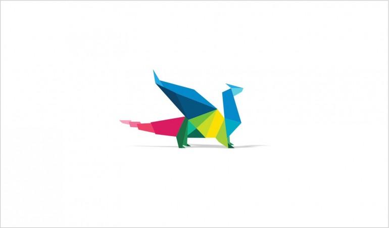 Origami  Dragon Logo brand.