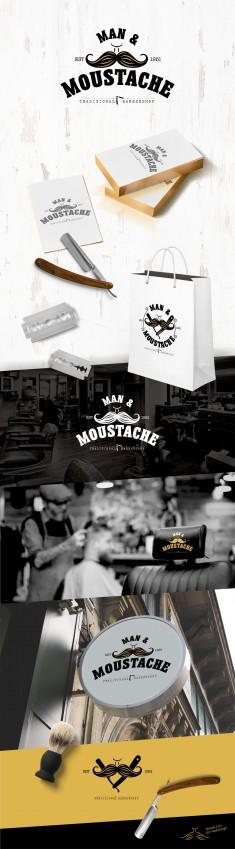 Logo branding for Man & Moystache (Available for sale).