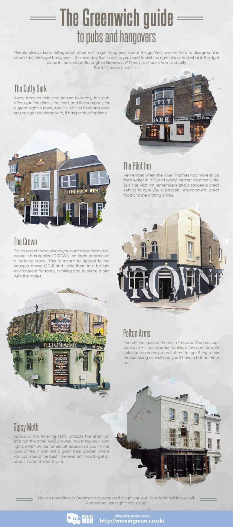 An infographic showing a brief list of places and pubs in the London Borough of Greenwich where  ...