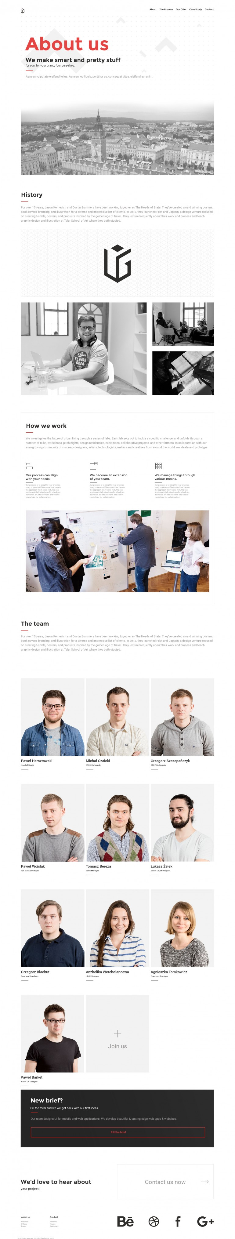 About page for UIG Studio