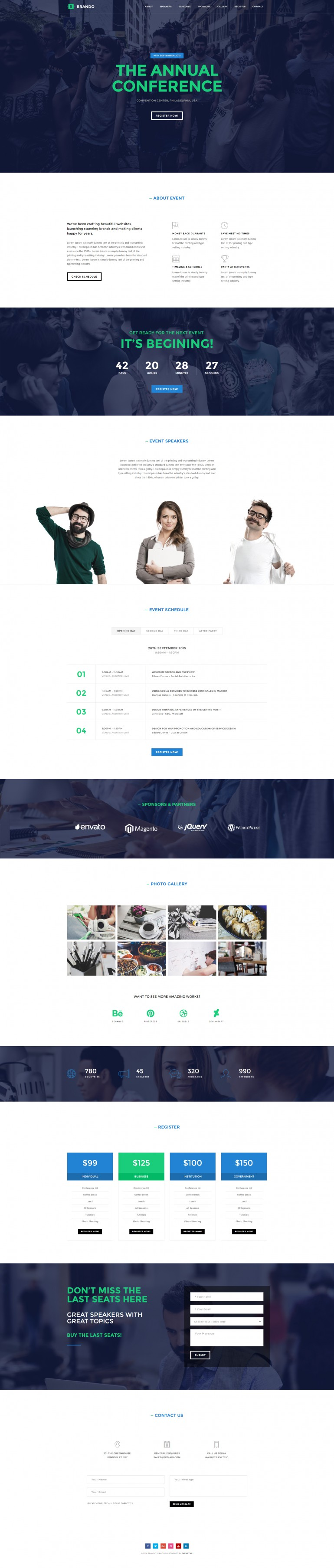 Brando Event Onepage WordPress Theme
