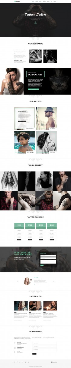 Brando Tattoo Onapage WordPress Theme