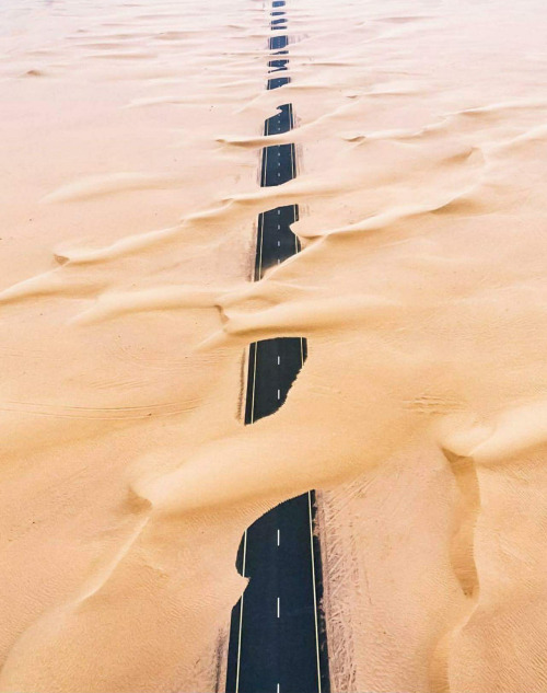 Sand covered highway.