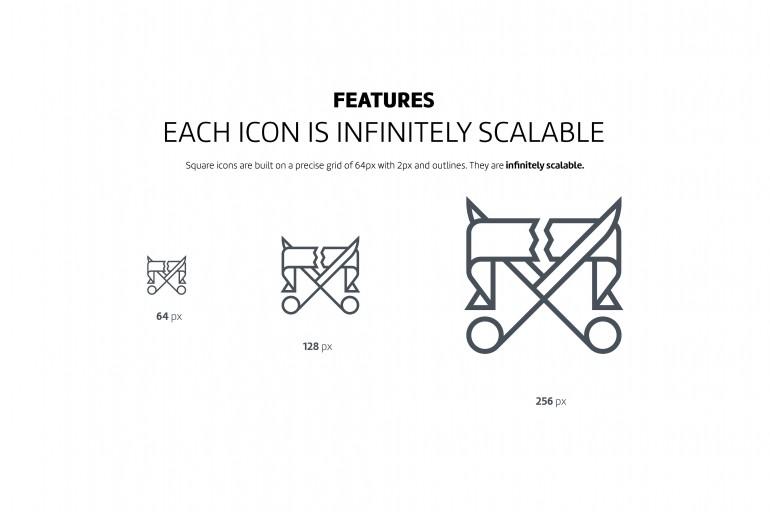 Square line icons