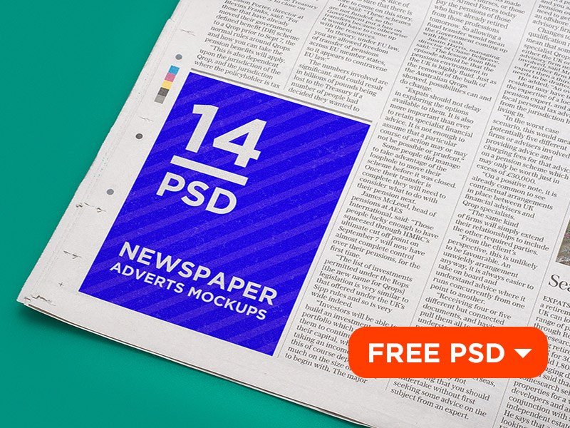 Free Newspaper Adverts Mockup PSD