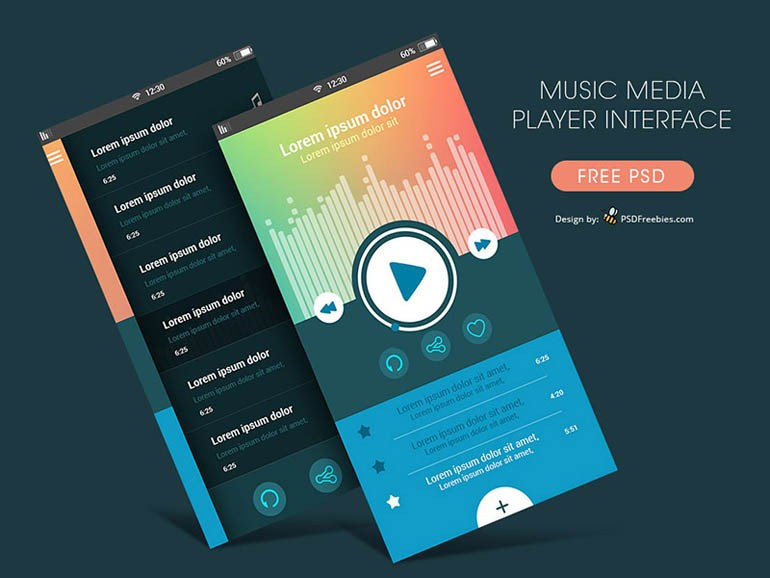MP3 Music Player App UI PSD