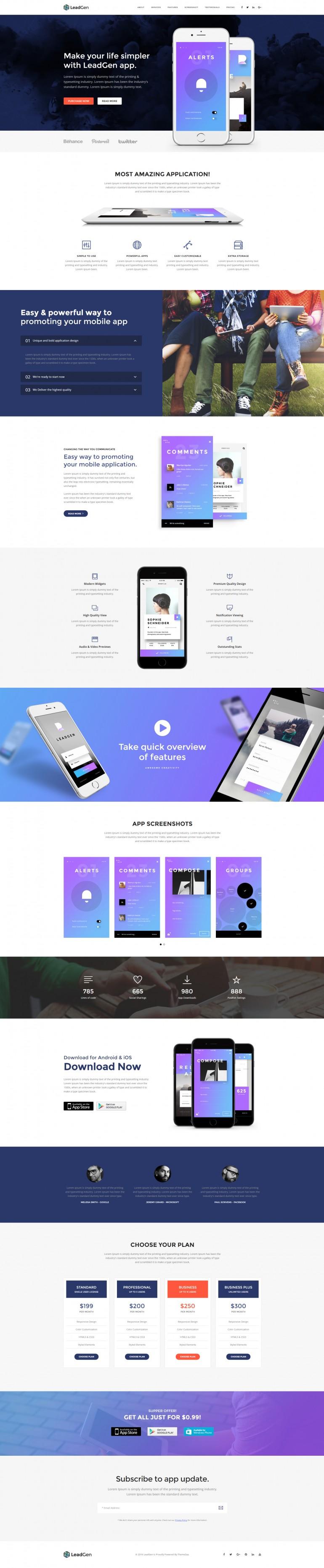 LeadGen – Multipurpose Marketing Landing Page – Application Launching