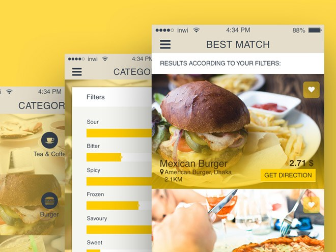 Free Restaurant Finder App UI for iOS (PSD)