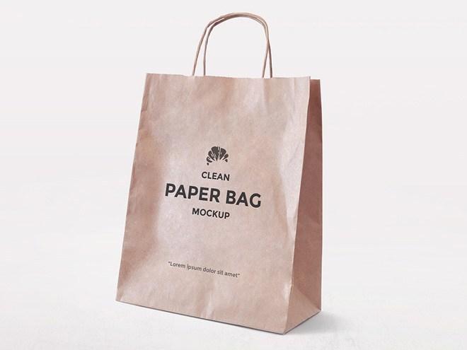 Free Minimal Paper Bag Mockup PSD