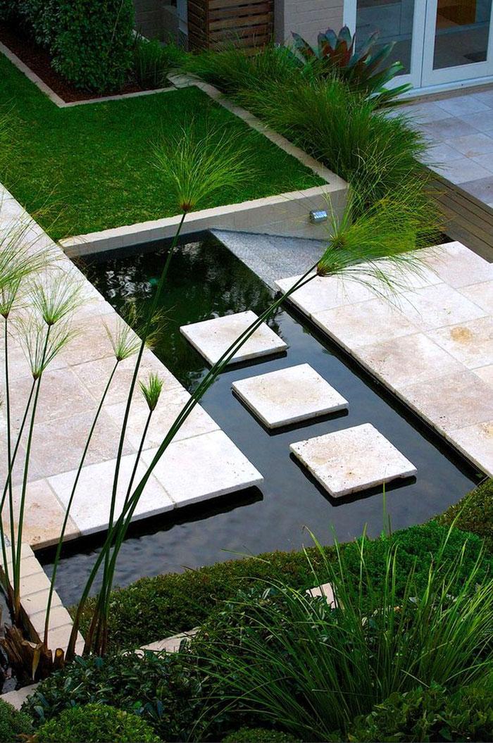 modern asian themed backyard