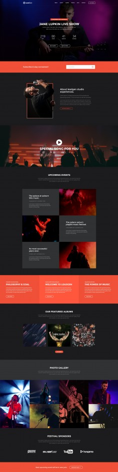 LeadGen – Multipurpose Marketing Landing Page  – Music Show