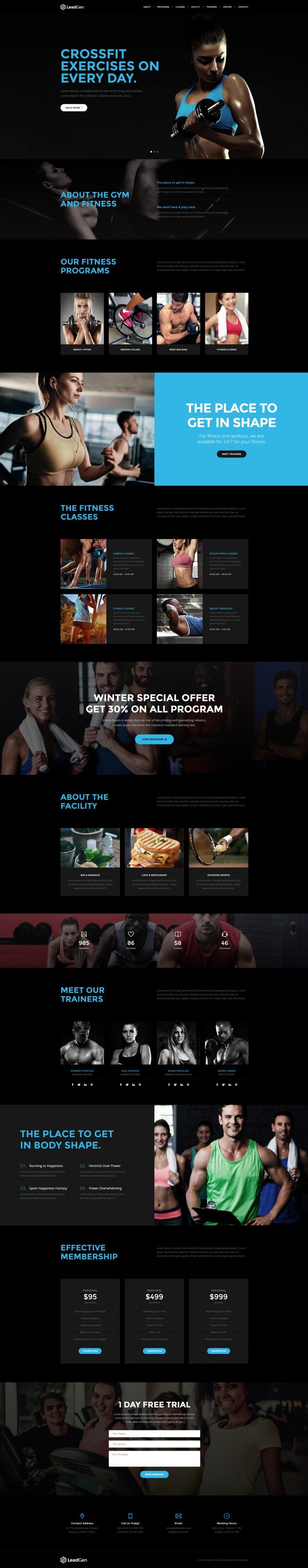 LeadGen – Multipurpose Marketing Landing Page – Sport and Gym