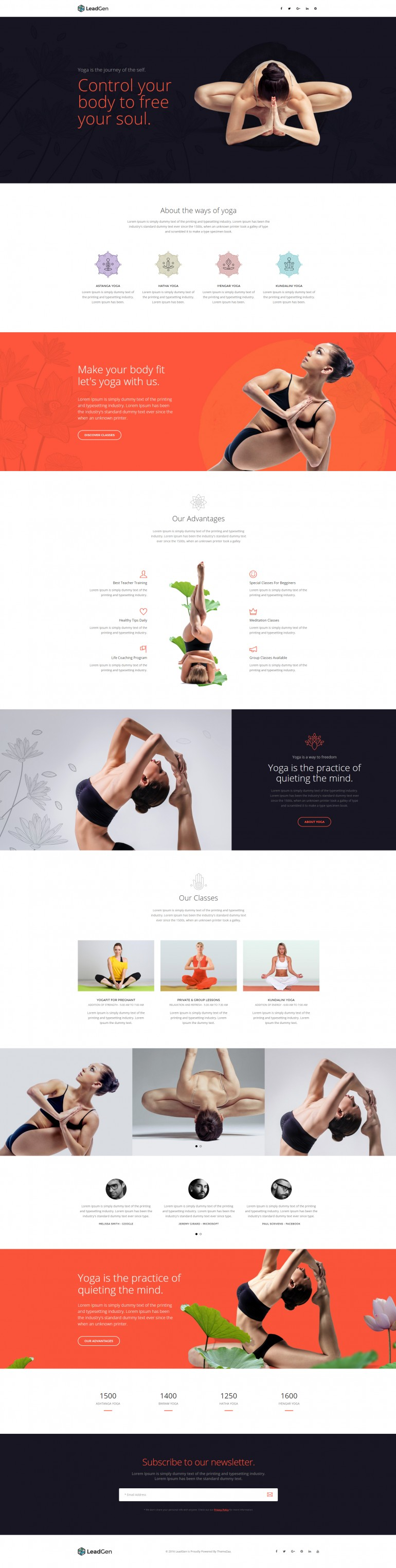 LeadGen – Multipurpose Marketing Landing Page – Yoga and Fitness