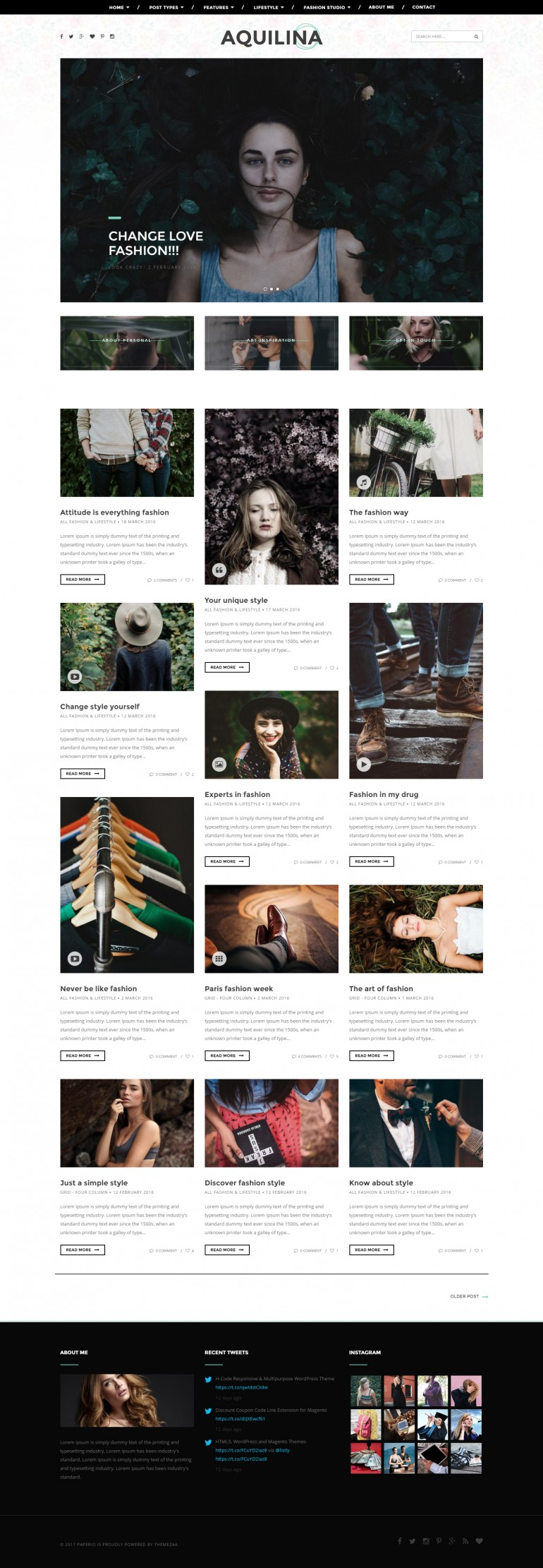 Paperio – Responsive and Multipurpose WordPress Blog Theme – Aquilina