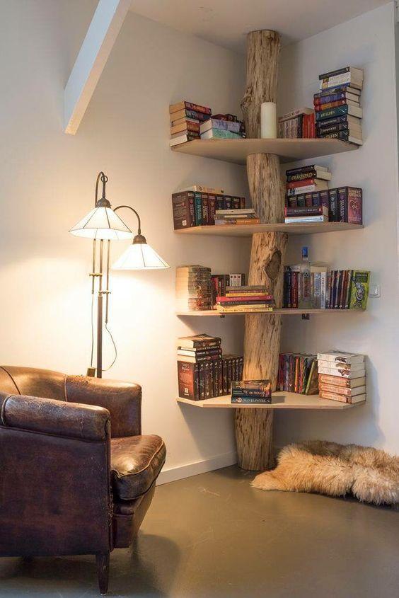 Tree Bookshelf in the Corner