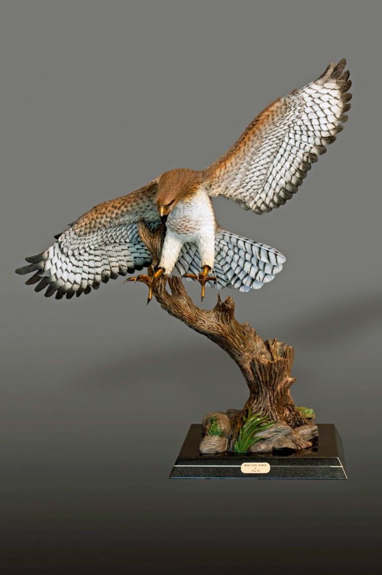 RED-TAILED HAWK Sculpture by Barry Stein