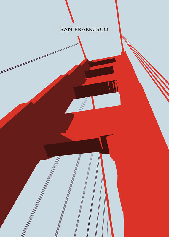 San Francisco  The Golden Gate Bridge Poster Art by LawandMoore