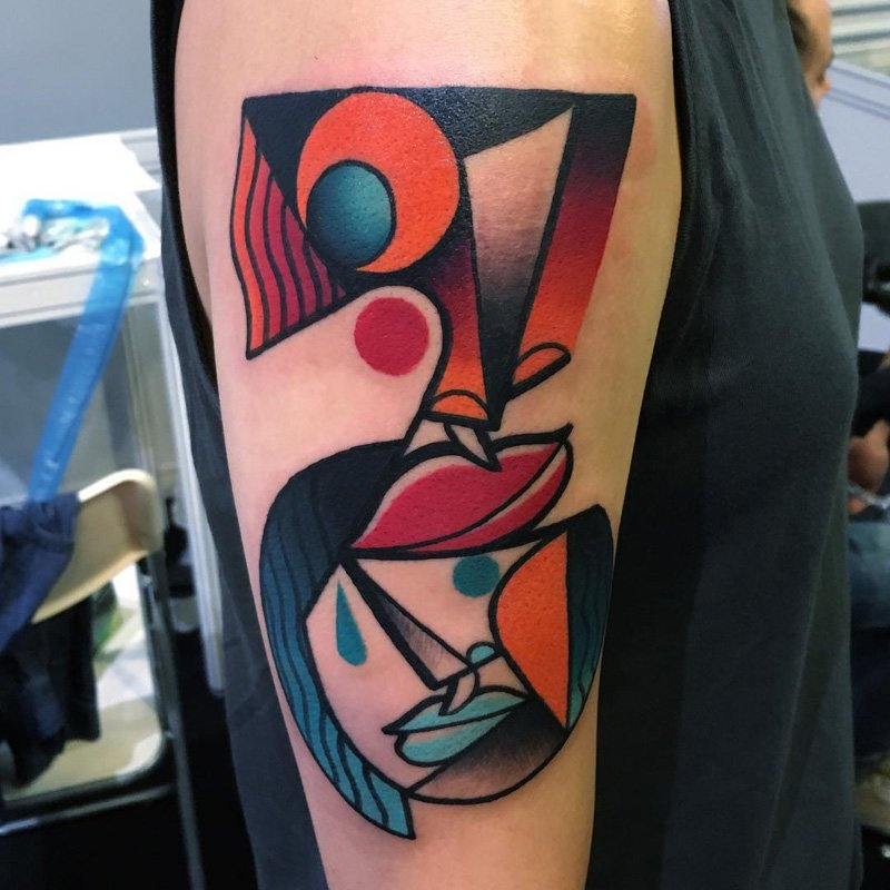 Bright Color Cubist Tattoos Inspired by Picasso