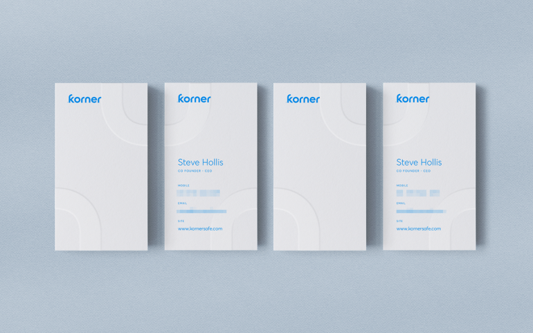 Korner Business Cards in a raw.