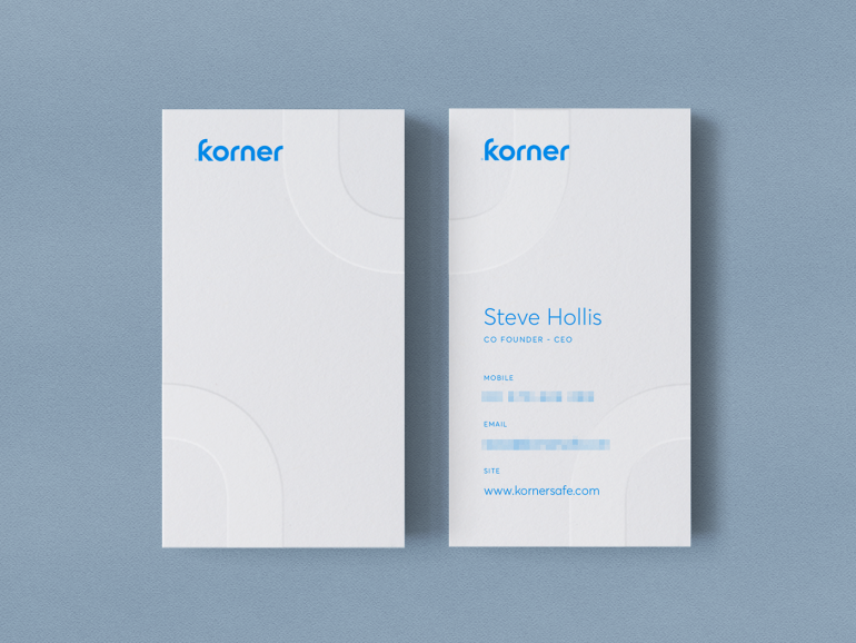 Korner Business Cards in vertical position.