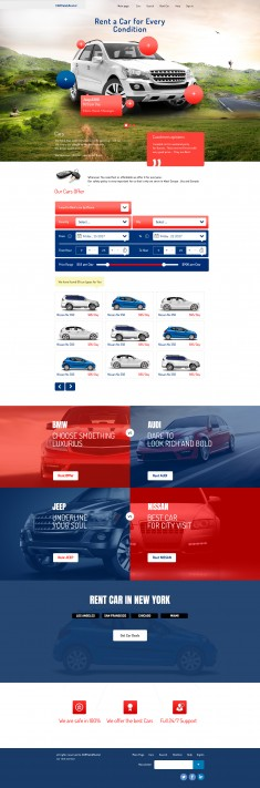 This is the UI design I made for Car rental website . The user can rent a car for every weather  ...