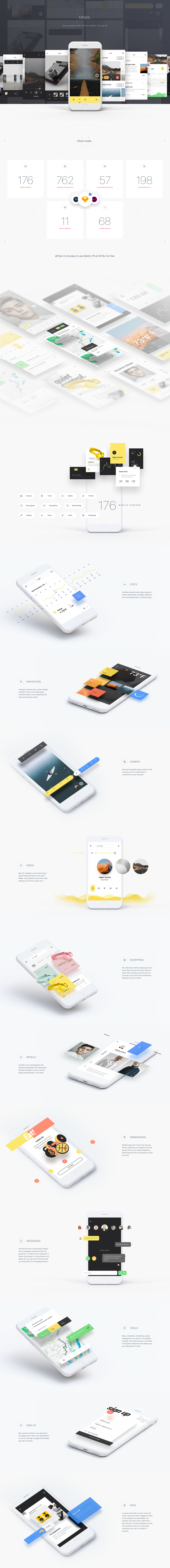 MNML – Free Multi-purpose iOS UI Kit for Sketch, PS & XD