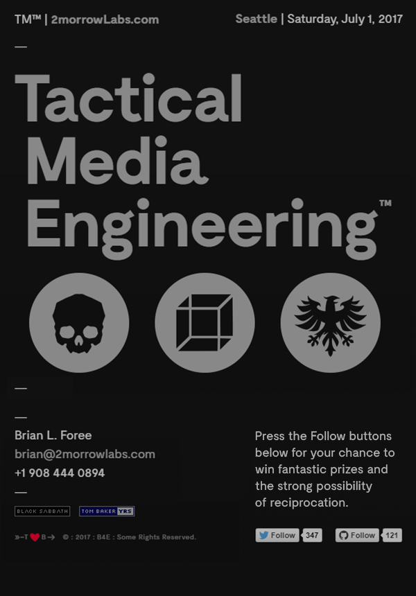 Portrait-oriented tablet screen | Tactical Media Engineering™ | © 2017