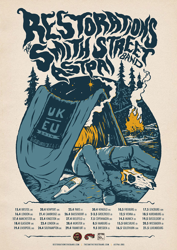 Restorations, The Smith Street Band, Astpai tour poster