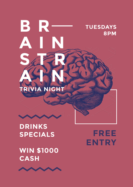 Brain Strain Trivia Event Promotion