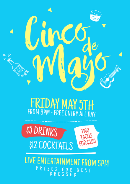 Cinco de Mayo blue design with illustrations Flyer Template