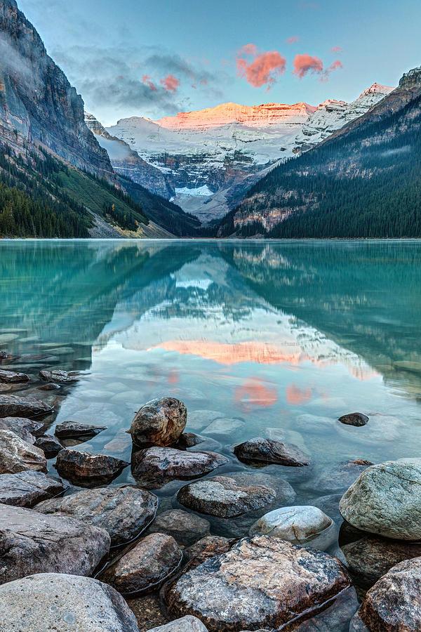 Dawn at Lake Louise in Banff, National Park, Alberta, Canada