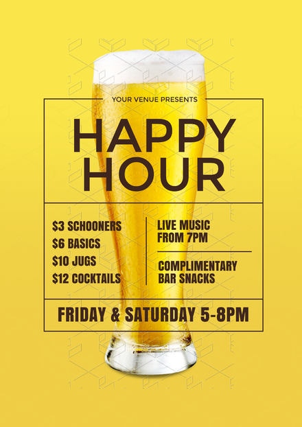 Yellow Happy Hour Design with Glass of Beer in Background