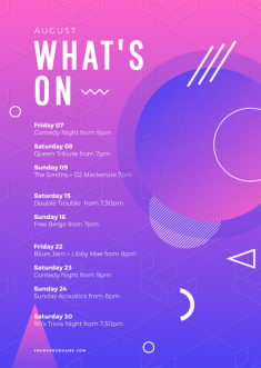 Purple & Pink What's On Event Listing Template