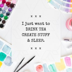 Watercolor paint flatlay image with motivational quote template