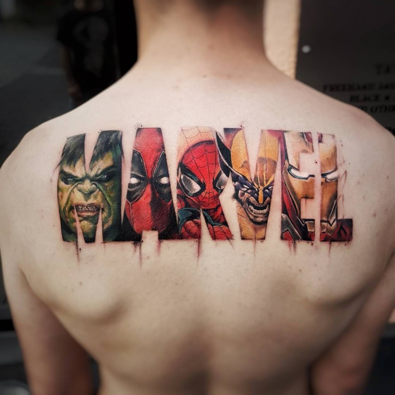 Marvel Logo motive done by Italian tattoo and bodyart skully artist Daniele Maiorano