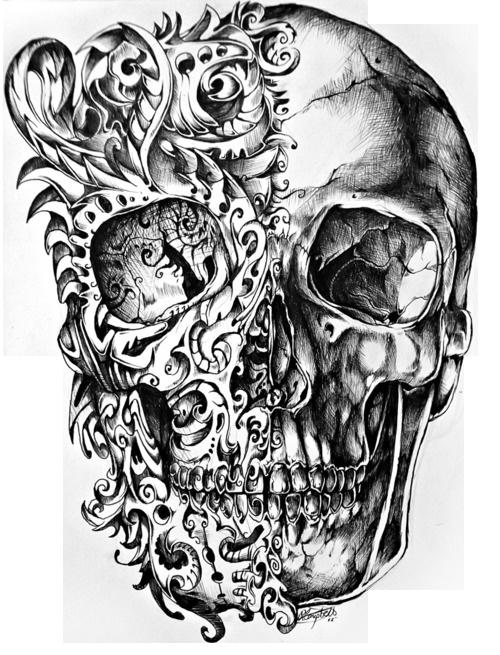 Cool Skull Tattoo Design Drawing PNG