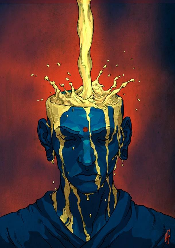 Monk and Tea – Illustration by Alxferreiro