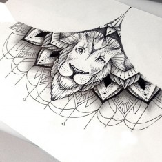Lion Sternum Tattoo